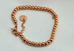 Smooth Steel Ball Couple Bracelet Fashion Jewelry Titanium Steel Rose Gold Color Valentine Gift