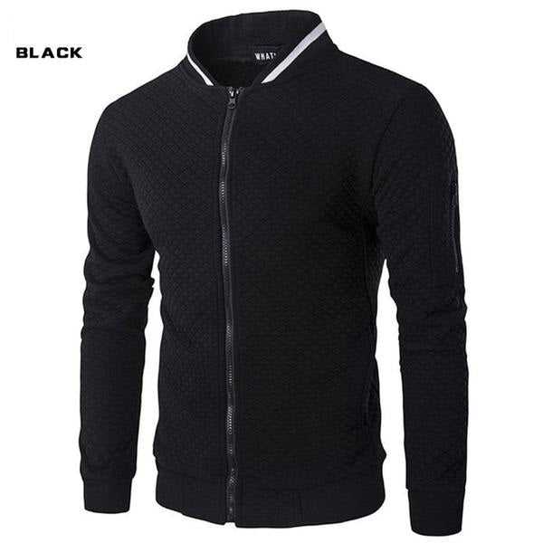 Men's Hoodie Brand Casual Zipper Jacket Stand-Neck Sudaderas Hombre High-Grade Sweatshirt White 3D Plaid Tracksuit XXL
