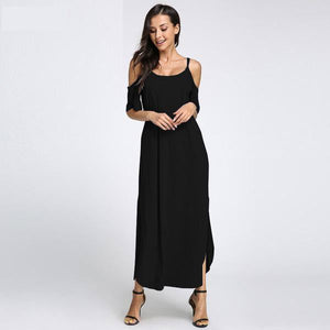 Women's Summer Sexy Off Shoulder Strapless Split Maxi Boho Beach Casual Loose Solid Long Sundress Dress