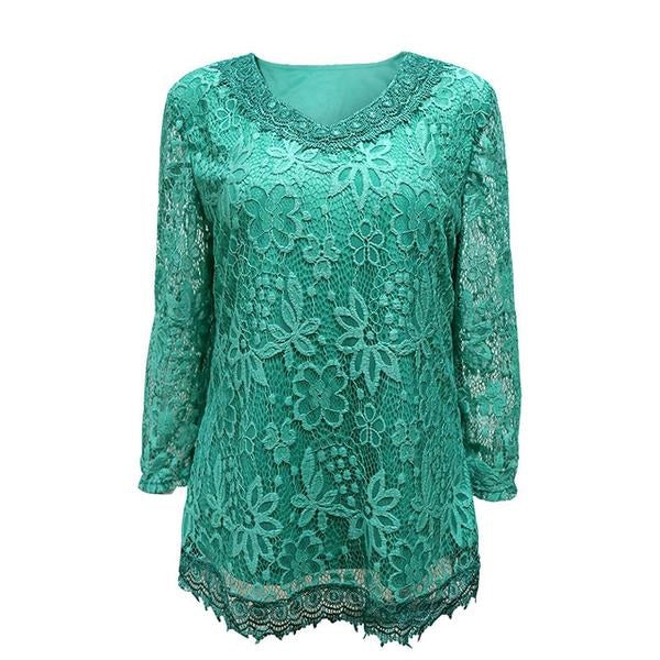 Women's Plus Size Elegant Floral Lace Spring Autumn T-Shirt Elastic Cotton Tops 6XL 7XL 8XL