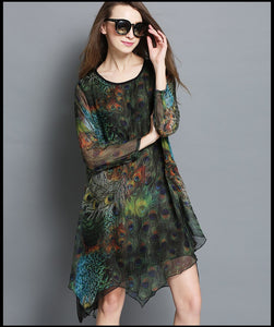 Women's New Spring Elegant Irregular Peacock Printed Silk Wrinkle Plus Size Asymmetrical Dress