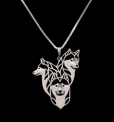 1 Piece Gold & Silver Siberian Husky Family 3D Cut Out Puppy Dog Lover Pendant Memorial Necklaces Pendants