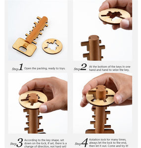 Unisex Children Adult Intellectual Educational Wooden  Unlock Puzzle Key Classical Funny Kong Ming Lock Toys
