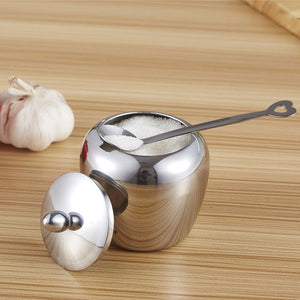 Kitchen Sugar Bowl Apple-shape Stainless Steel - Condiments Container with Lid and Spoon
