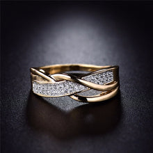 Valentine Fashion Spiral CZ Crystal Gold-Color Mid Ring Cubic Zirconia Promise Jewelry