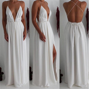 Women's Summer High Split Maxi Chiffon Solid Sexy Evening Party Clubwear Spaghetti Strap Dresses