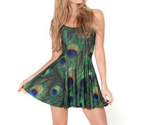 Women's Fashion Slim 3D Printed PEACOCK Tank Galaxy Black Milk Skater Dress