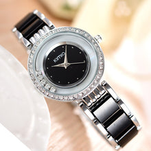 Women's Ultra Slim Top Brand Crystal Clock Black Ceramics Gold Luxury Rhinestone Diamond Watch