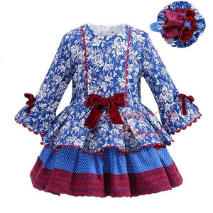 Girls - Kids Clothing Blue Floral Bow High Waist Flare Sleeve Boutique Dress with Headband - Everyday Wear- Spring