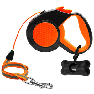 Pet's 10Ft 16Ft Retractable Leash Automatic Extending Walking Lead Reflective With Free Dog Waste Dispenser