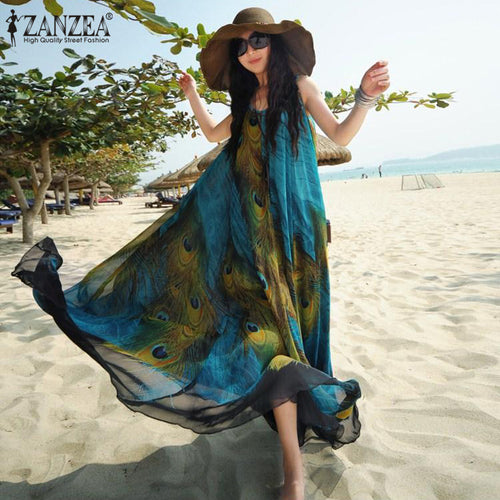 Women's Peacock Floral Printed Boho Chiffon Sleeveless Beach Tunic Long Maxi Summer Dress