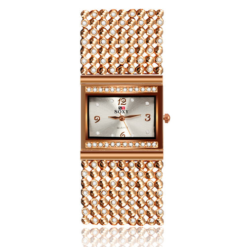 Women's Luxury Golden Brand Quartz Stainless Steel Elegant Wristwatches