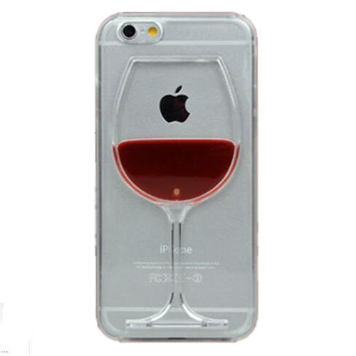 For iphone 7 Case Red Wine Cup Liquid Transparent Case - For Apple iPhone 7 7 Plus 6 6S Plus 5 5S 8 4 4S Phone Cases Back Covers