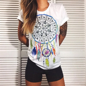 Women's Summer Vibe Print Punk Rock Graphic Tees 3D T-Shirt European Fashion Clothing