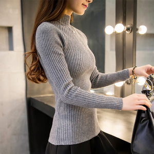 Women's Spring High Elastic Slim Sexy Bottoming Knitted Turtleneck Pullovers