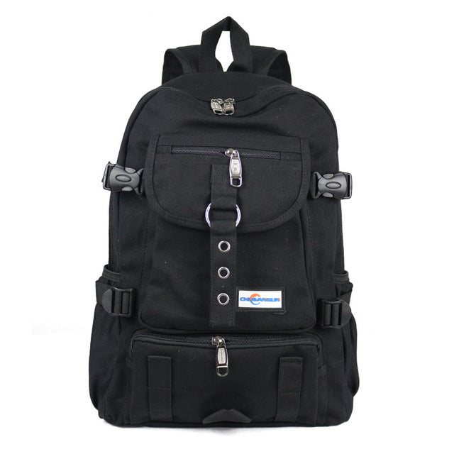 New Fashion arcuate shouider strap zipper solid casual bag male backpack school bag canvas bag designer backpacks for men