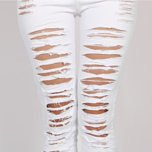 Women's New Designer Denim High Waist Ripped Jeans