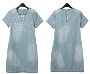 Women's Summer Fashion Denim Blue Dress Plus Size M - 5XL