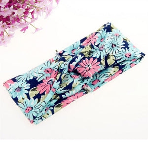 Women and Girls Elastic Turban Twisted Knotted Ethnic Floral Wide Stretch Hair Band