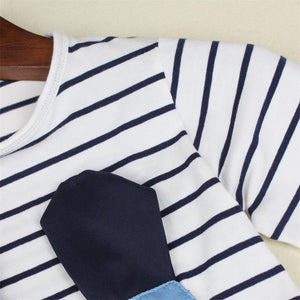 Girls - Kids Striped Long Sleeve Cute Striped Patchwork Denim Mouse Dress
