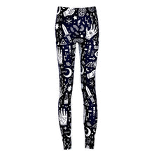 Women's Sexy Girl Slim Ninth Pants SpellBound Ouija Witchcraft Sun Printed Stretch Fitness Leggings