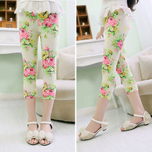 New Arrival Girls Kids Summer Calf Length Printed Flower Leggings, Pants and Trousers