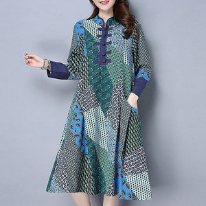 Women Vintage Floral Boho Loose Long Sleeve Stand Collar Toggle Baggy Casual Pullover Kaftan Dress