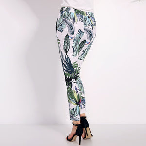 Women's Bohemian Summer Floral Print Casual Elastic Waist Mid Outwork Long Trousers