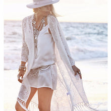 Women's Fringe Long Sleeve Kimono Cardigan Tops Sexy Cover Up Open Stitch Blouse White Blusas