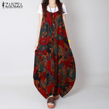 Women's Casual Vintage  Boho Vestidos Floral Sleeveless Loose Long O-Neck Maxi Beach Dress
