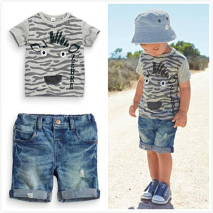 2018 Hot Sale Baby Kids Boy Summer Short-Sleeved T-Shirt Plus Denim Shorts 2 Pcs/Suit Clothing