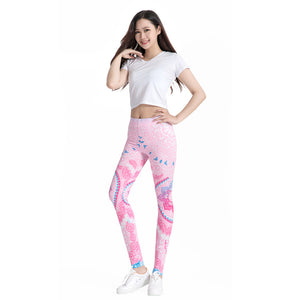 Women's 3D Print Elastic High Waist Stretch Workout Casual Slim Pencil Pants Leggings