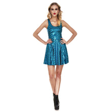 Girl Women NEW Sexy Shiny Dragon Fish Scale Peacock Blue 3D Prints Reversible Sleeveless Skater Pleated Dress Plus Size