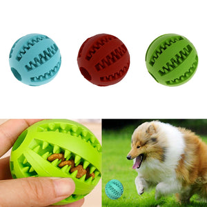 Pet Dog Chew Toy Food Dispenser Ball Bite-Resistant Clean Teeth Natural Rubber