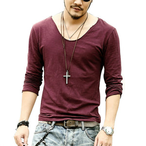 Men's Cotton Casual Leisure Fashion Long Sleeve T- Shirt -V-Neck