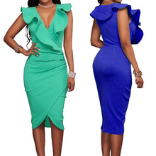 Women's Summer Sexy Sleeveless V Neck Pencil Party Dress