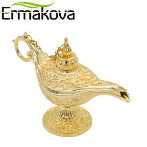 Metal Golden Aladdin Magic Lamp Pot Retro Wishing Oil Lamp Aladdin's Genie Lamps  Incense Burner Home Decor Gift 701