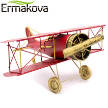 29cm or 27cm Metal Handmade Crafts Aircraft Model Airplane Model Biplane Home Decor Furnishing Articles (Red Color)