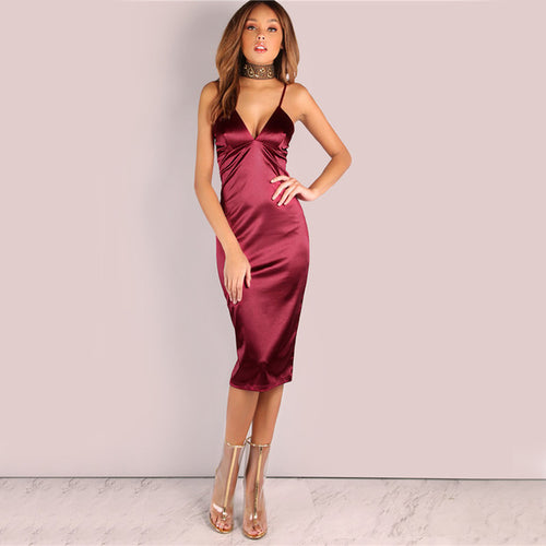 Women's Summer Burgundy Satin Deep V Neck Party Dress