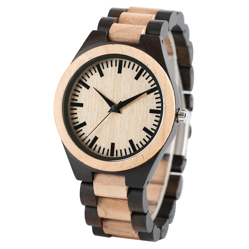 Men's Luxury Maple Wooden Handmade Gifts Nature Full Wood Quartz Bamboo Wrist Watch