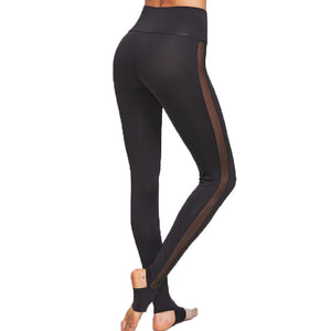 Women's Casual Black Wide Waistband Mesh Insert Stirrup Leggings