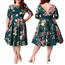 Women's Vintage Zipper Floral Printed Tunic Big Swing Dress 3XL - 9XL