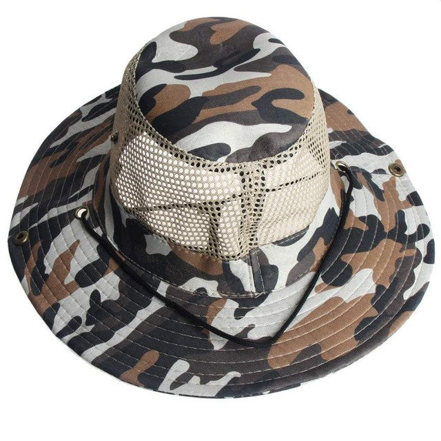 Men's High Quality Outdoor Mesh Sunshade Fishing Hat Fishing Visors Round Brim Breathable Cap