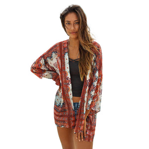 Women's Fashion Summer Chiffon Floral Printed Blouse Beach Boho Kimono Cardigan Long Sleeve Casual Loose Long Beach Cover up