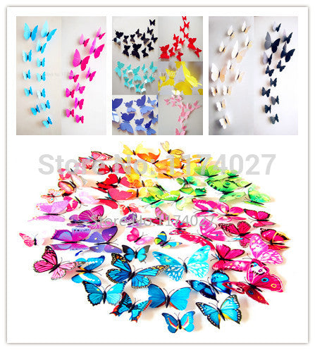 12 Pieces High Quality PVC 3D Cute Butterfly Wall Sticker Art Décor