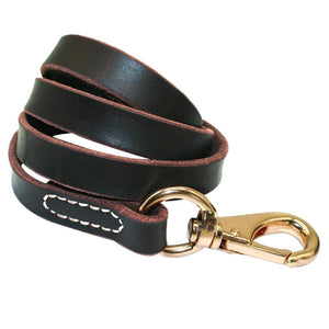 Pet's Heavy Duty Handmade Leather Leash Lead Dark Brown Black With Gold Hook Best for Walking Training All Dog Breeds 4 Sizes