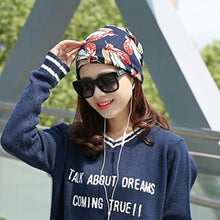 Women's Spring Autumn New Scarf Stripped Cap Round Beanie Hat