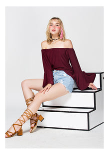 Sexy Off Shoulder Butterfly Long Sleeve Tops