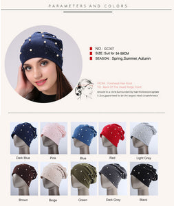 Women's Spring Summer Autumn Brand Beanie Hat Casual Polyester Shine Pearls&Rhinestones Beanies
