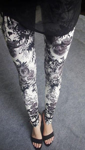 Women's Hot Print Flower Guitar Plaid Thin Pant Fashion Leggings Plus Size